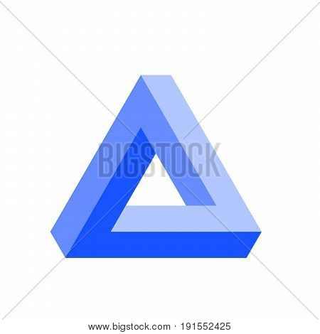 Penrose triangle icon in blue. Geometric 3D object optical illusion. Vector illustration.