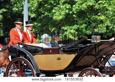 Queen Elizabeth & Royal Family Buckingham Palace London June 2017- Trooping the Colour Prince Georges first appearance on Balcony for Queen Elizabeths Birthday June 17 2017 London England UK