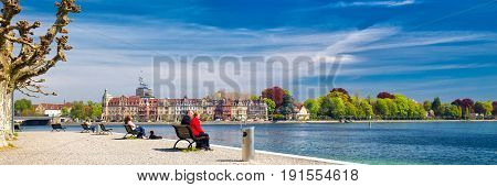CONSTANCE SWITZERLAND - April 2017 - Promenade in Konstanz city center. Konstanz is a university city located at the western end of Lake Constance in the south-west corner of Germany Switzerland