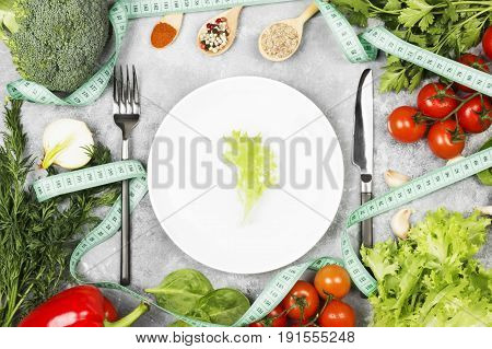 Concept Variety Of Dietary/vegetarian Food. White Plate And Lettuce Leaf. Various Vegetables (brocco