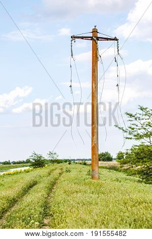 Photo of electric pylon with broken wires