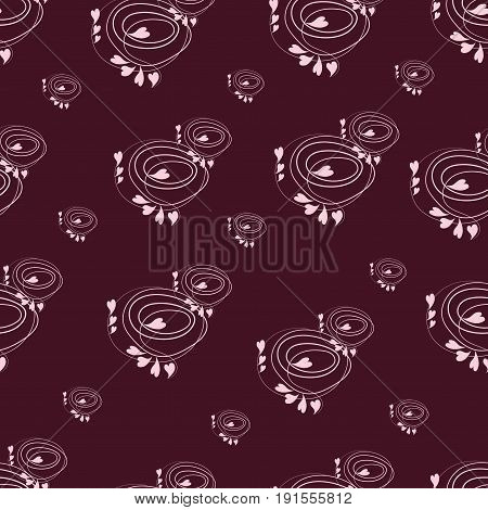 Pink hearts in spirals. Seamless pattern. Abstract composition on a dark red background. Design for textiles, tapestries, packaging materials.