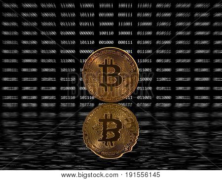 Single gold bitcoin icon superimposed on zooming out black digital bit background. Reflection as though it is emerging from water or sinking underwater