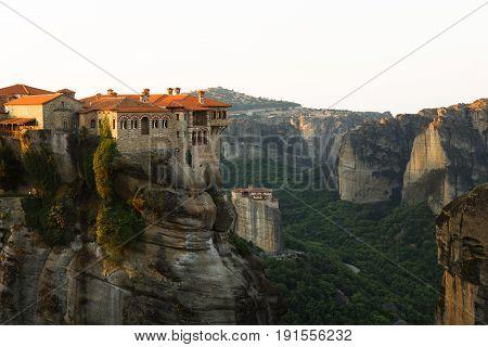 Meteora monasteries, the Holy Monastery of Varlaam at foreground, Kastraki, Greece