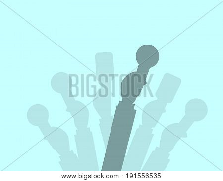 Set of Microphones silhouettes. Journalism concept Mass Media TV Interview Breaking News press conference concept. Microphones in reporter hands
