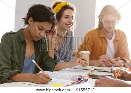 Education, School, University, College Conept. Three Young Groupmates Gathering Together Making Home
