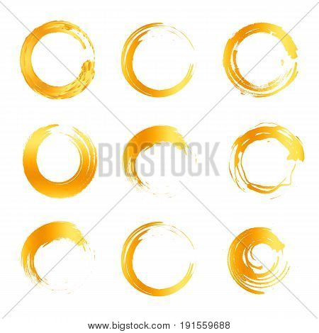 Isolated abstract round shape orange color logo collection, sun logotype set, geometric circles vector illustration.