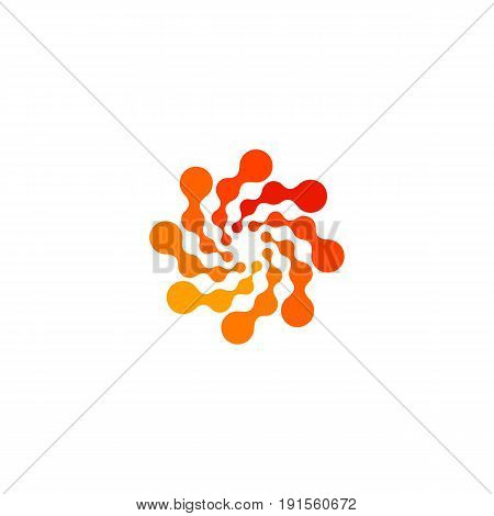 Isolated abstract round shape orange color logo, dotted stylized sun logotype on white background, swirl vector illustration.