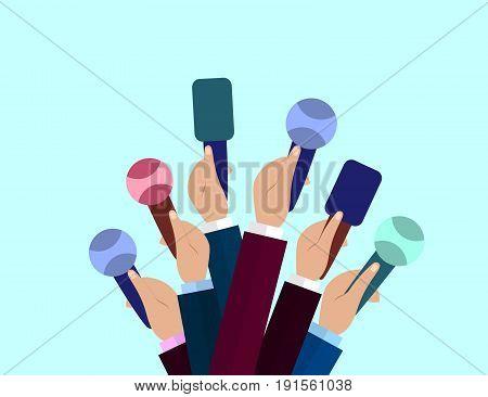 Set of Microphones. Journalism concept Mass Media TV Interview Breaking News press conference concept. Microphones in reporter hands.