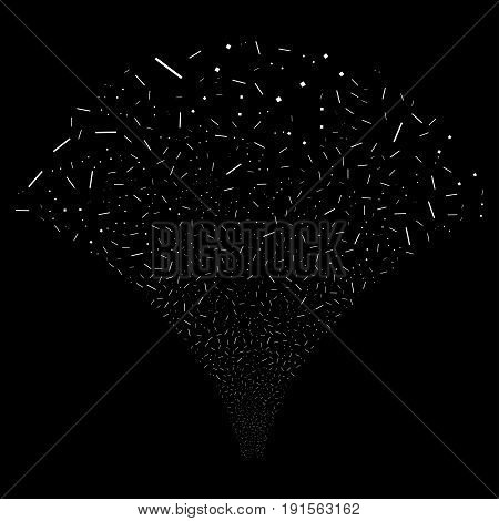 Source of lines and dots icons. Vector illustration style is flat white iconic symbols on a black background. Object source constructed from confetti symbols.