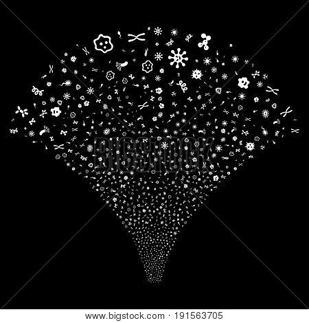 Source stream of microbes symbols. Vector illustration style is flat white iconic symbols on a black background. Object salute organized from random symbols.