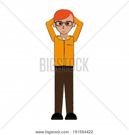 young happy man with glasses in casual outfit putting his arms behind his head  icon image vector illustration design