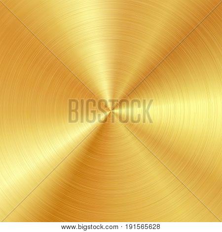 Background with polished, brushed gold surface. Vector illustration