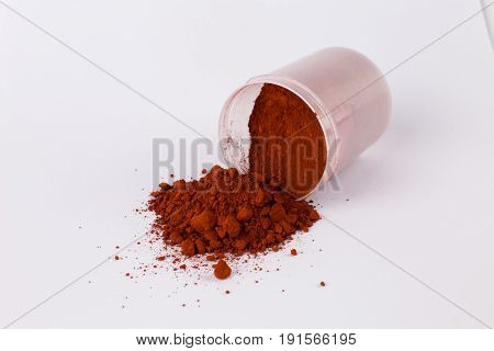 iron oxide red pigment on a white background