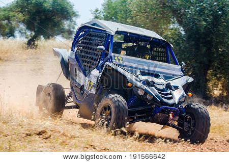 EXTREMADURA SPAIN - JUN 17: Driver and codriver Participing in TT Spanish Rally Championship. Badajoz Dehesa de Extremadura.