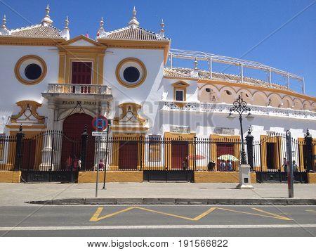 bullring in sevilla spain, sunny day, culture