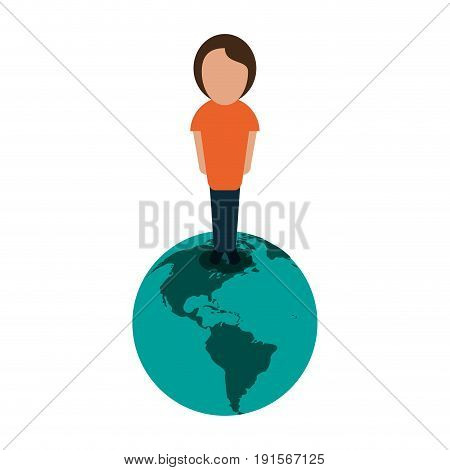 person standing on planet earth international icon image vector illustration design