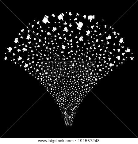 Source stream of thumb up symbols. Vector illustration style is flat white iconic symbols on a black background. Object source combined from confetti design elements.