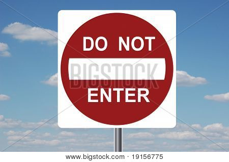 Do Not Enter traffic sign with clouds in the background