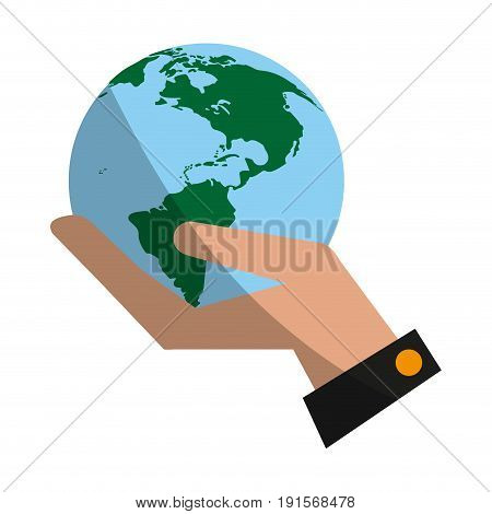 hand holding planet earth icon image vector illustration design