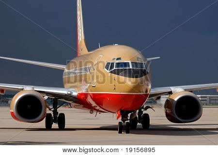 Southwest Airlines airplane taxiing at the airport