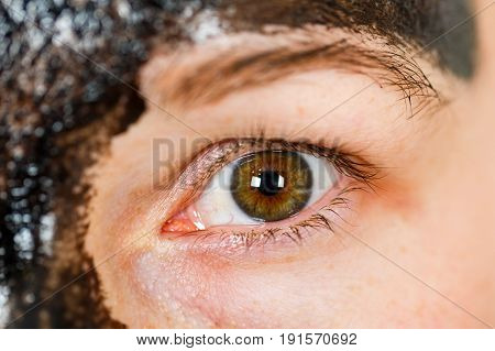 Close up photo of young woman's hazel eye