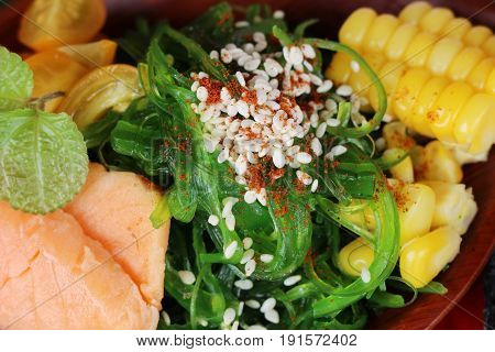 Seaweed salad is spicy with salmon delicious