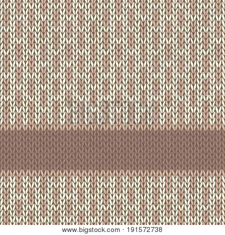 Knitted Seamless Pattern. Light brown and white yarn