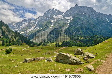 views of the sonmarg glacier in kashmir