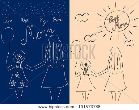 Vector illustration mother and her daughter hold one's hands