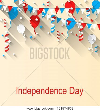 American Patriotic Banner for Independence Day with Balloons, Streamer, Stars and Pennants, in US National Colors - Illustration Vector