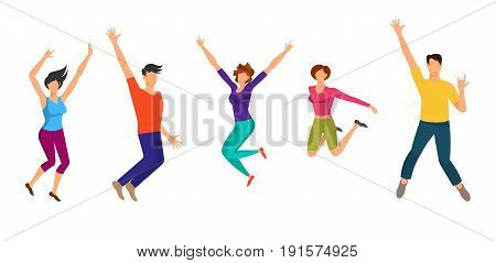 Happy Jumping Boys and Girls. Happiness People Isolated on White Background. Cheerful Sporty Youth - Illustration Vector