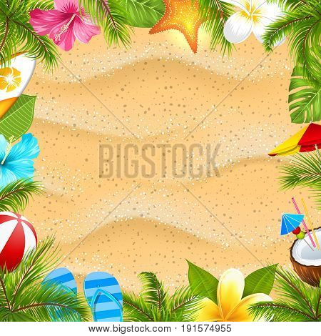 Creative Poster with Palm Leaves, Beach Ball, Frangipani Flower, Starfish, Surf Board, Hibiscus, Sand Texture. Summer Vacation Background - Illustration Vector