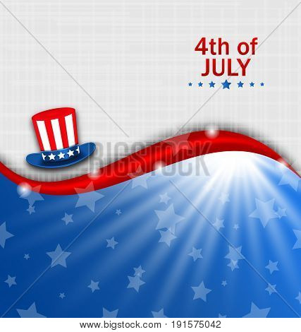 Abstract American Poster for Independence Day USA, Fourth July, Hat Uncle Sam - Illustration Vector