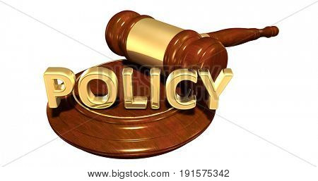 Policy Law Concept 3D Illustration