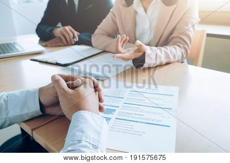 Business situation job interview concept. Business find job.