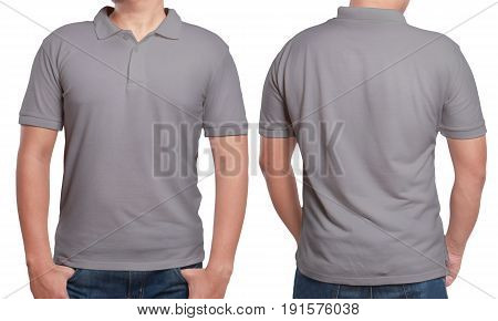 Gray polo t-shirt mock up front and back view isolated. Male model wear plain grey shirt mockup. Polo shirt design template. Blank tees for print