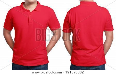 Red polo t-shirt mock up front and back view isolated. Male model wear plain red shirt mockup. Polo shirt design template. Blank tees for print
