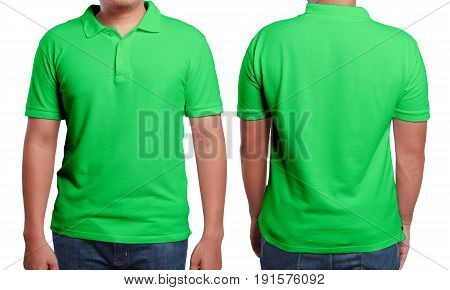 Green polo t-shirt mock up front and back view isolated. Male model wear plain green shirt mockup. Polo shirt design template. Blank tees for print