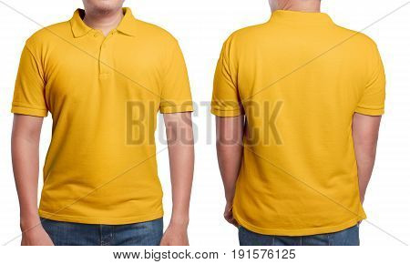 Orange polo t-shirt mock up front and back view isolated. Male model wear plain orange shirt mockup. Polo shirt design template. Blank tees for print