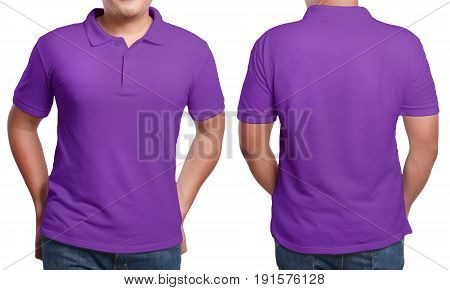 Purple polo t-shirt mock up front and back view isolated. Male model wear plain purple shirt mockup. Polo shirt design template. Blank tees for print