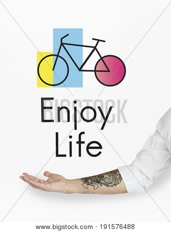 Hands with Tattoo and Bike Icon on White Background