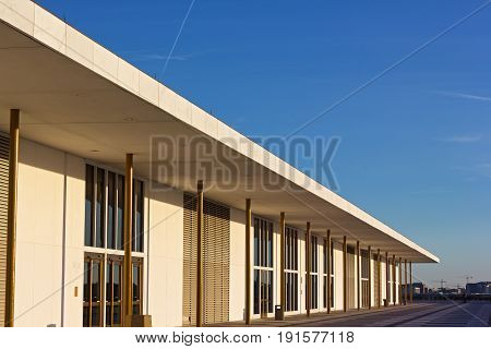 Balcony of The John F. Kennedy Center for Performing Arts at sunset before concert. Example of urban modern architecture of US capital.