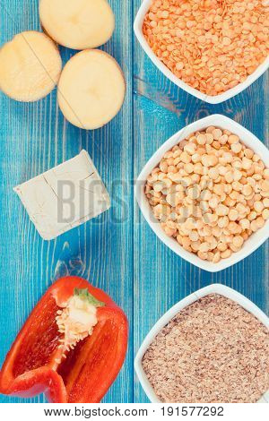 Vintage Photo, Ingredients Containing Vitamin B6 And Dietary Fiber, Healthy Nutrition