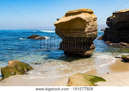 Rock formations on the beach at the Children's Pool in La Jolla, California.