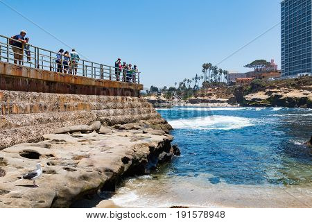 LA JOLLA, CALIFORNIA - JUNE 16, 2017:  Close-up view of visitors on the sea wall overlooking the Children's Pool, also known as Casa Beach, and a popular site for viewing harbor seals and sea lions.