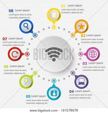 Infographic template with internet icons, stock vector