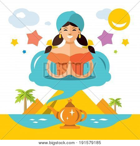 Fantasy woman ready to fulfill all desires. Isolated on a white background
