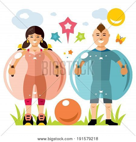 Girl and boy playing together. Isolated on a white background