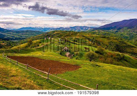 Wooden Fence On The Hillside In Carpathian Rural Area
